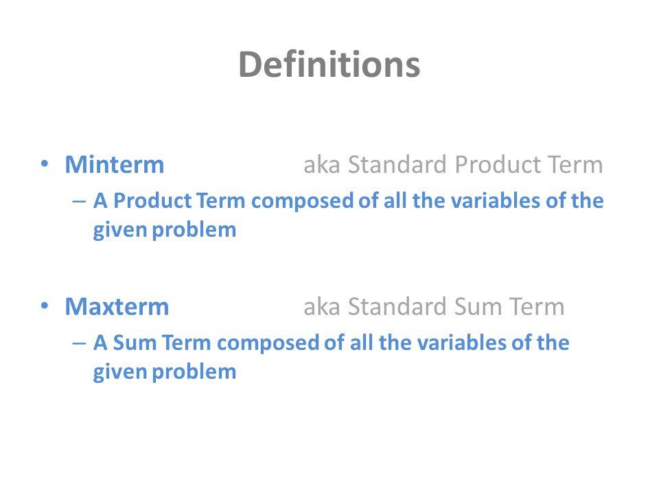 Definitions Minterm aka Standard Product Term