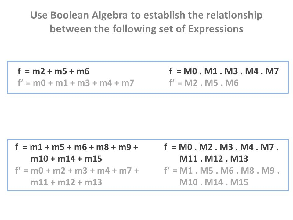 Use Boolean Algebra to establish the relationship between the following set of Expressions