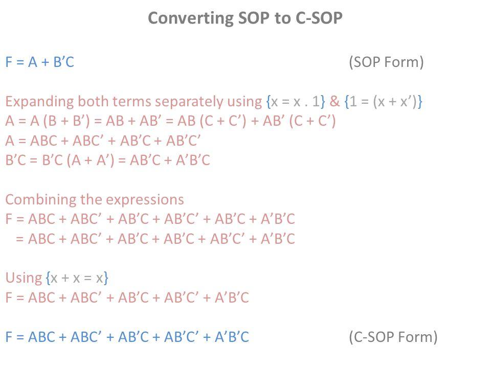 Converting SOP to C-SOP