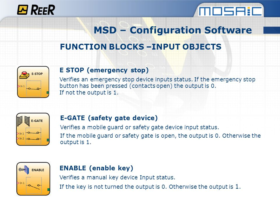 MSD – Configuration Software FUNCTION BLOCKS –INPUT OBJECTS