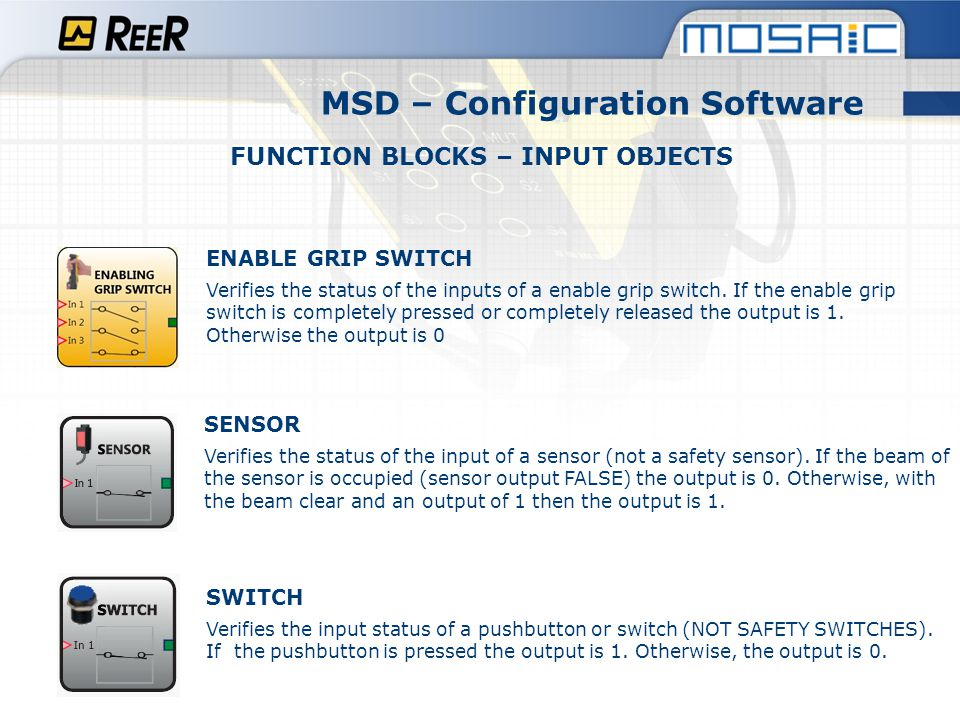 MSD – Configuration Software FUNCTION BLOCKS – INPUT OBJECTS