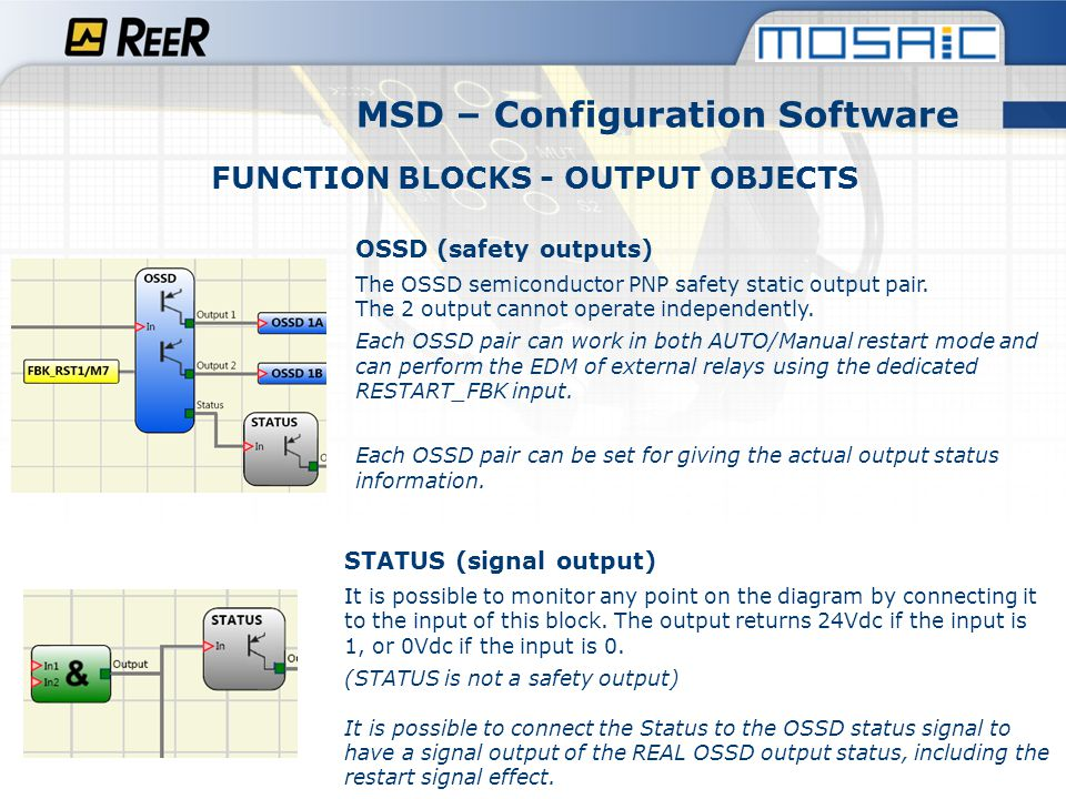 MSD – Configuration Software FUNCTION BLOCKS - OUTPUT OBJECTS