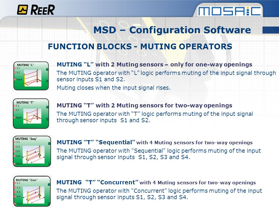 MSD – Configuration Software FUNCTION BLOCKS - MUTING OPERATORS