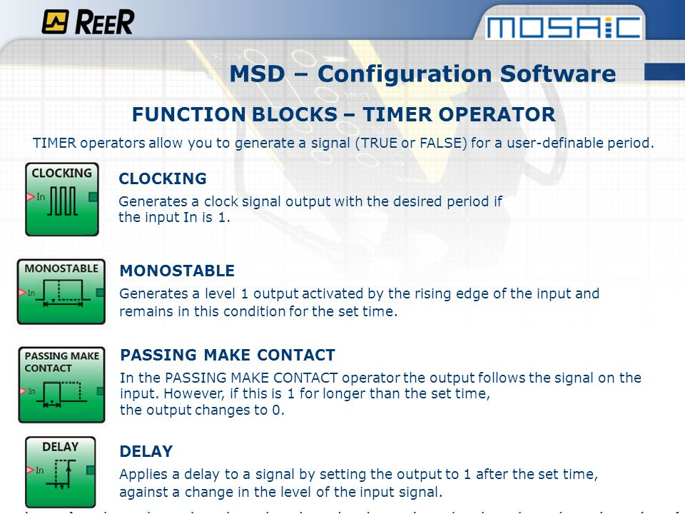 MSD – Configuration Software FUNCTION BLOCKS – TIMER OPERATOR