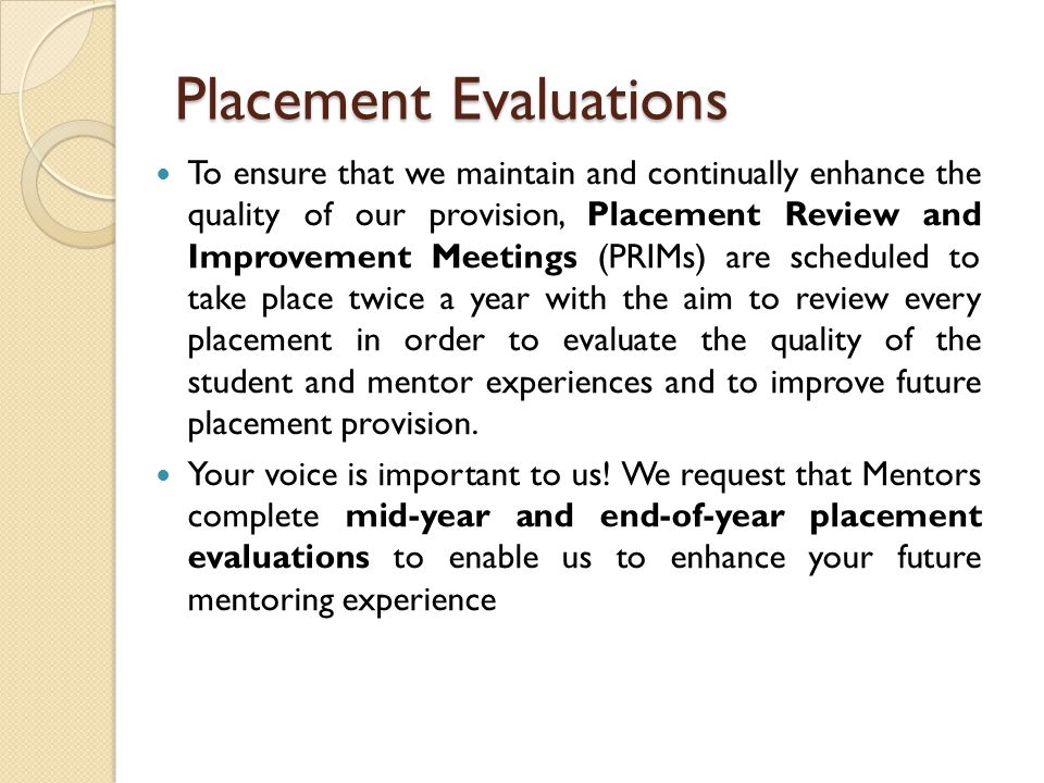 Placement Evaluations
