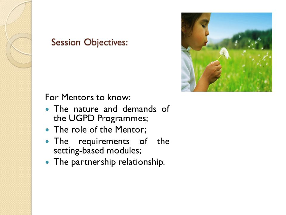 Session Objectives: For Mentors to know: