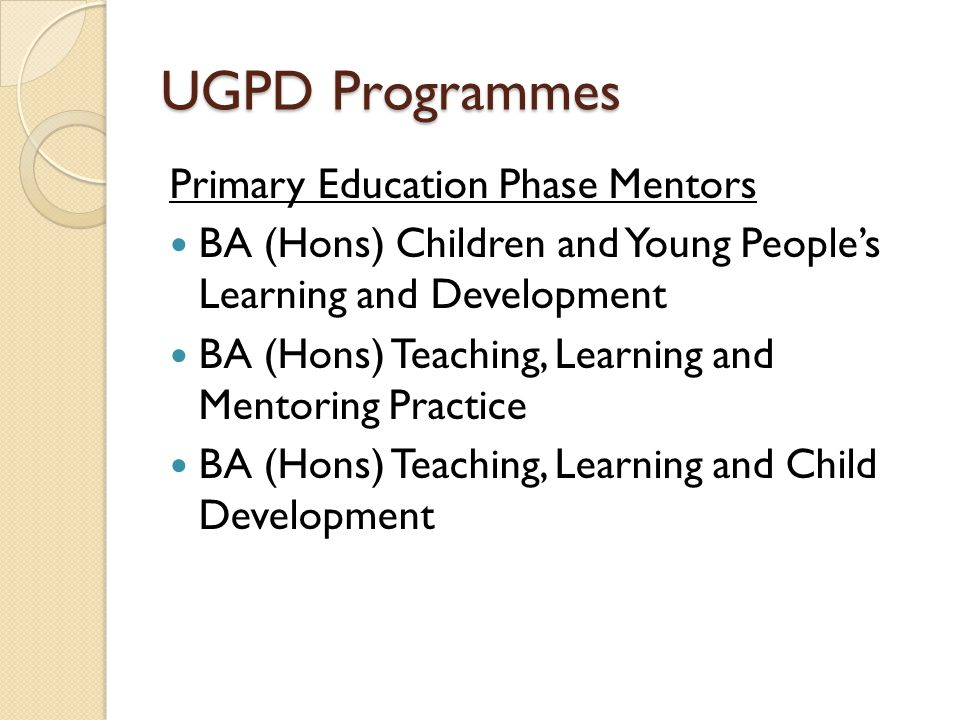 UGPD Programmes Primary Education Phase Mentors