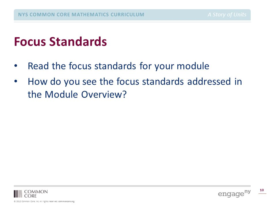 Focus Standards Read the focus standards for your module