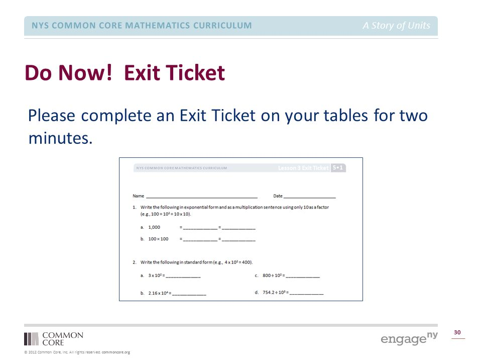 Module 1 Overview Do Now! Exit Ticket. Please complete an Exit Ticket on your tables for two minutes.