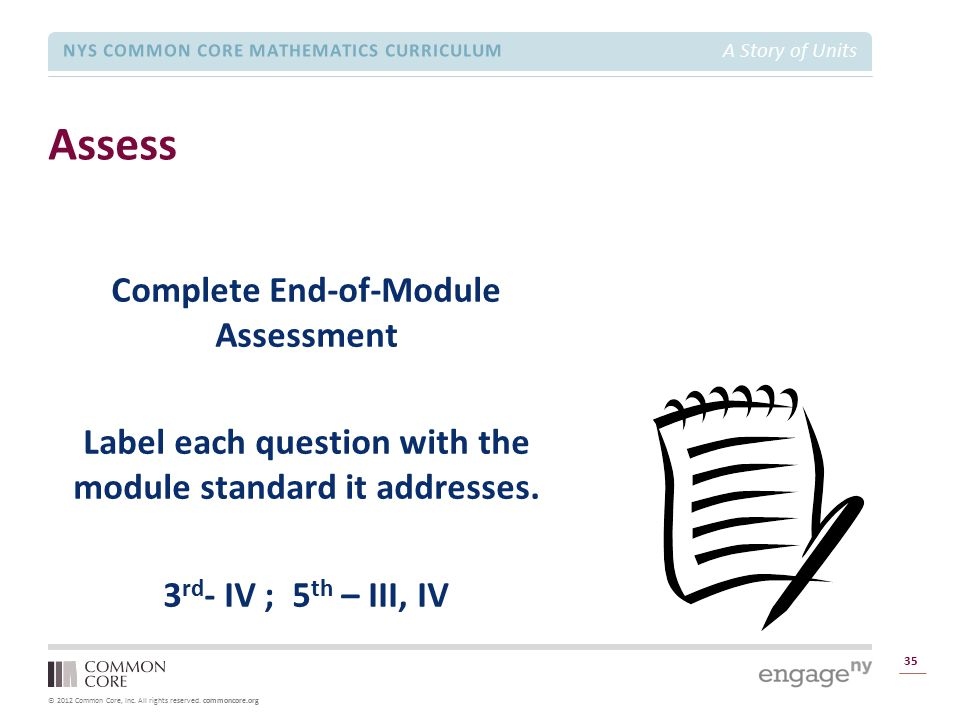 Module 1 Overview Assess. Complete End-of-Module Assessment Label each question with the module standard it addresses. 3rd- IV ; 5th – III, IV