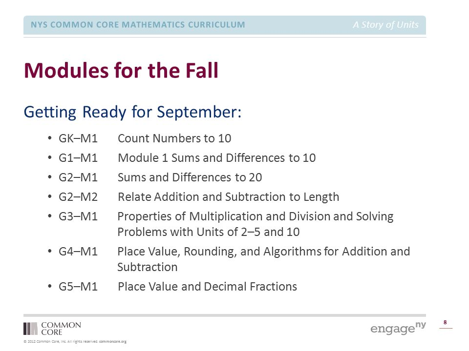 Modules for the Fall Getting Ready for September: