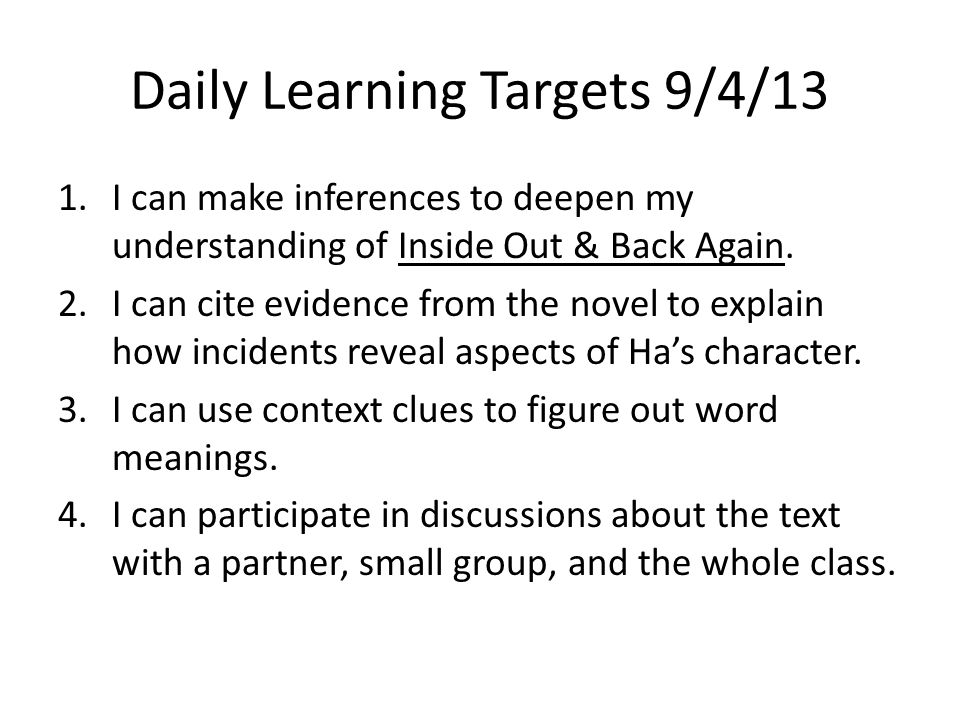 Daily Learning Targets 9/4/13