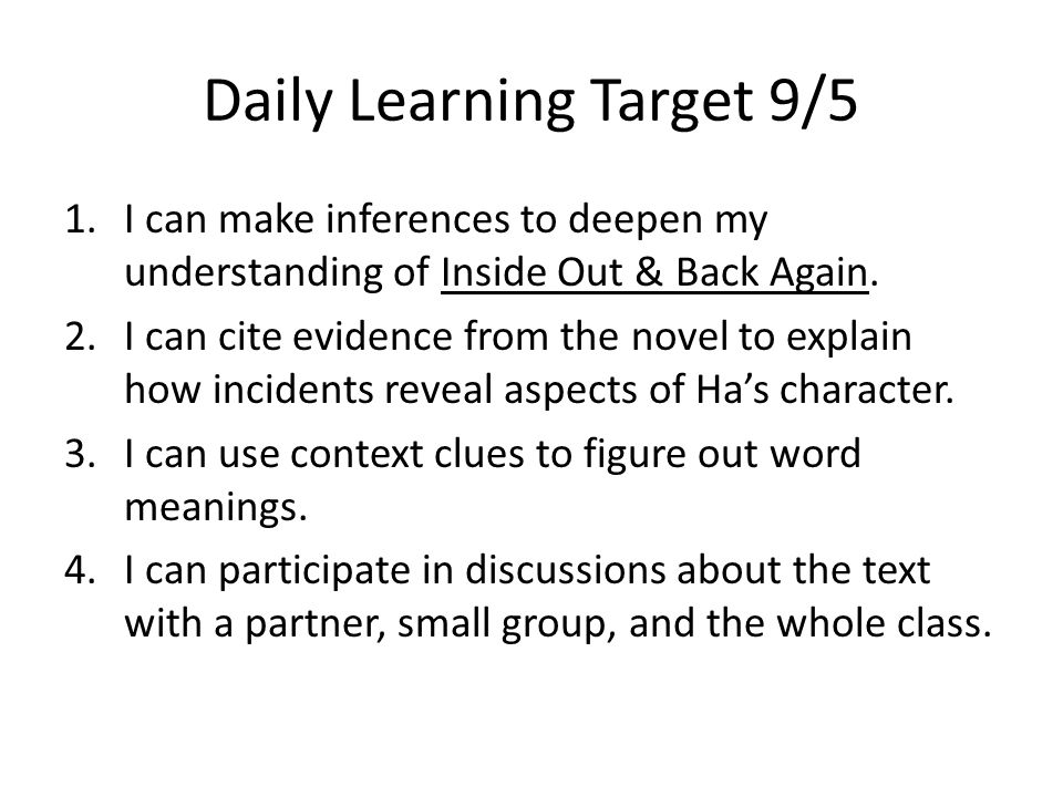 Daily Learning Target 9/5