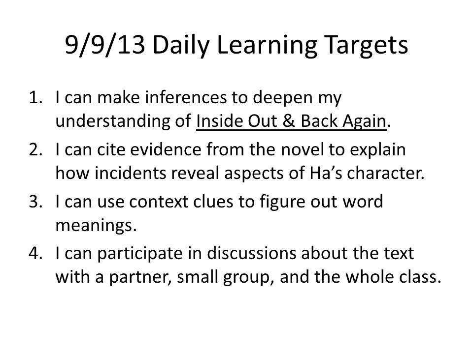 9/9/13 Daily Learning Targets