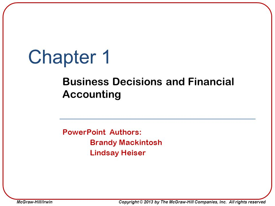Business Decisions and Financial Accounting