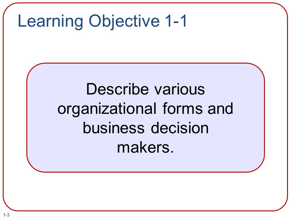 Describe various organizational forms and business decision