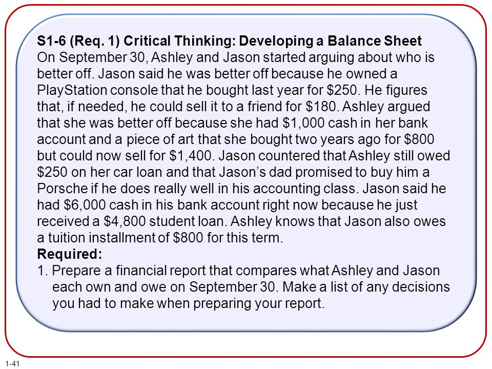 S1-6 (Req. 1) Critical Thinking: Developing a Balance Sheet