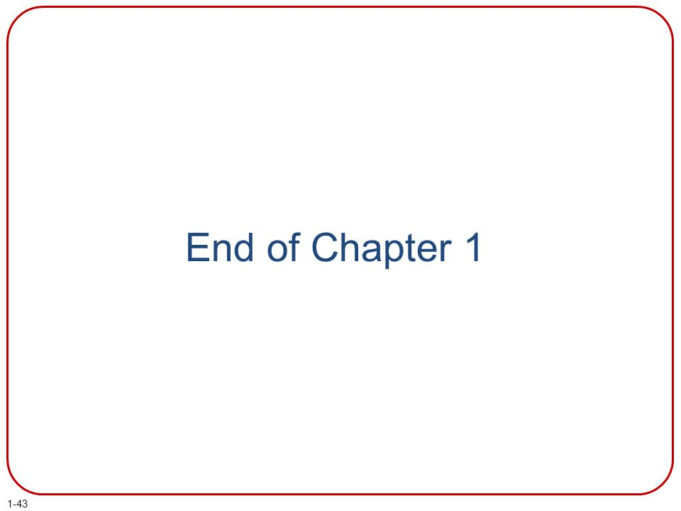 End of Chapter 1 End of chapter 1.
