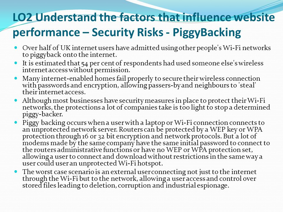 LO2 Understand the factors that influence website performance – Security Risks - PiggyBacking