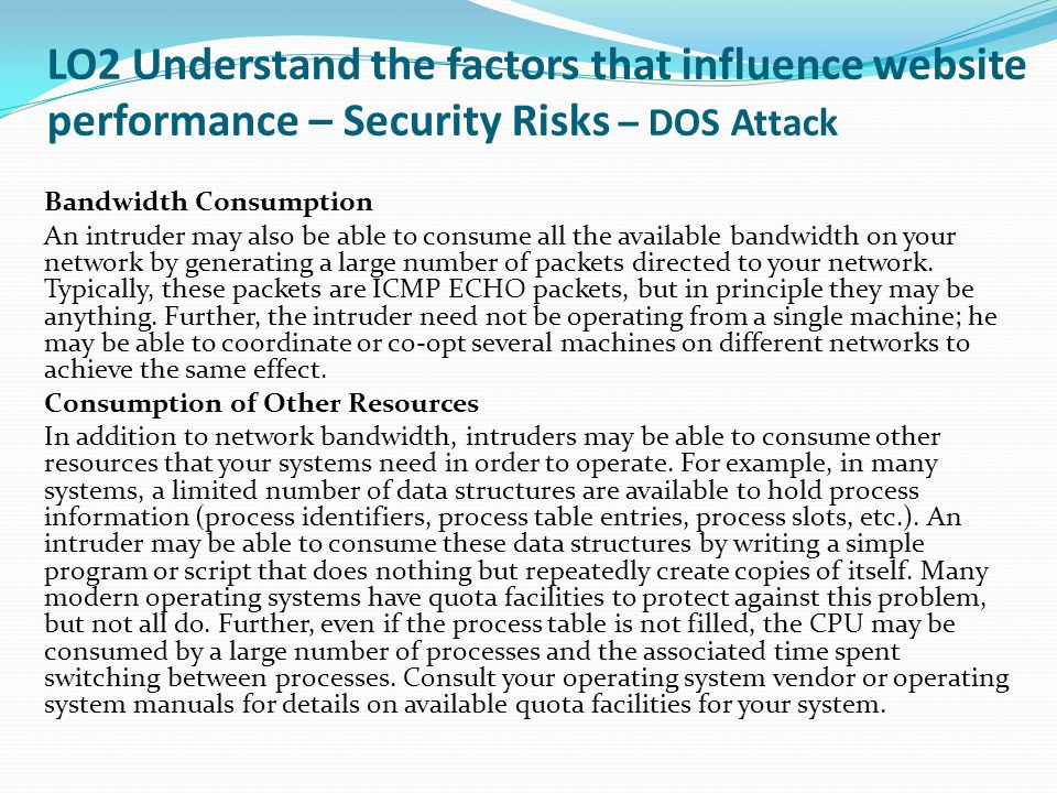 LO2 Understand the factors that influence website performance – Security Risks – DOS Attack