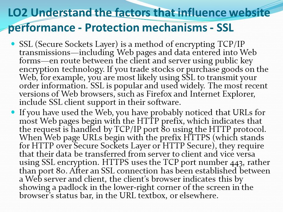 LO2 Understand the factors that influence website performance - Protection mechanisms - SSL