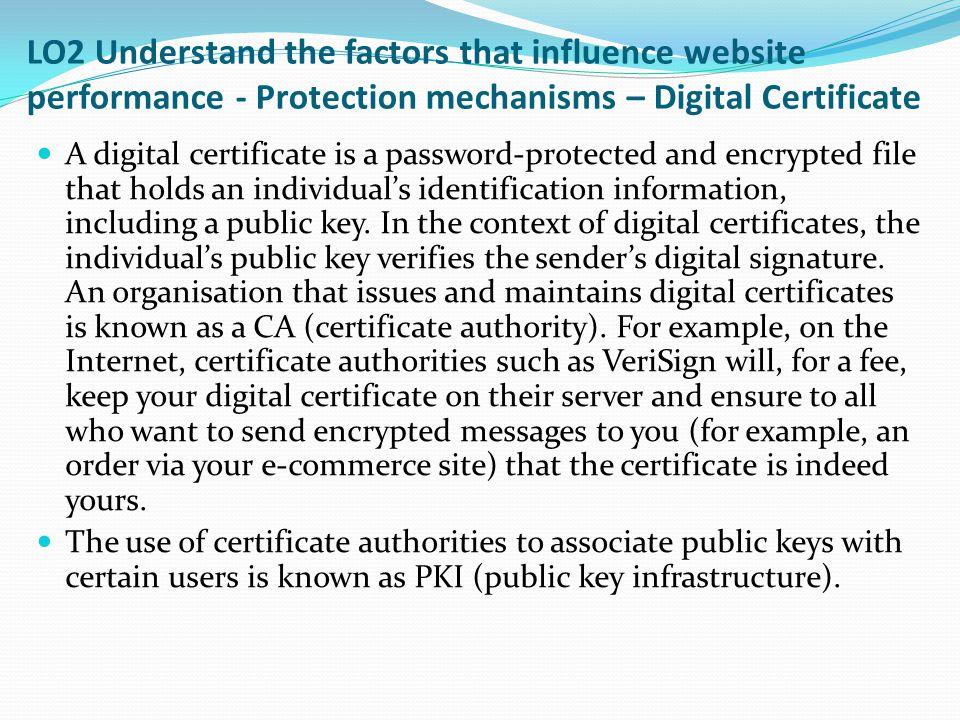 LO2 Understand the factors that influence website performance - Protection mechanisms – Digital Certificate