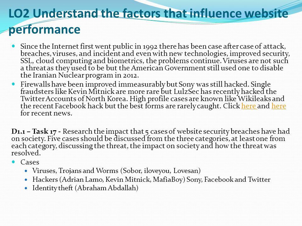 LO2 Understand the factors that influence website performance