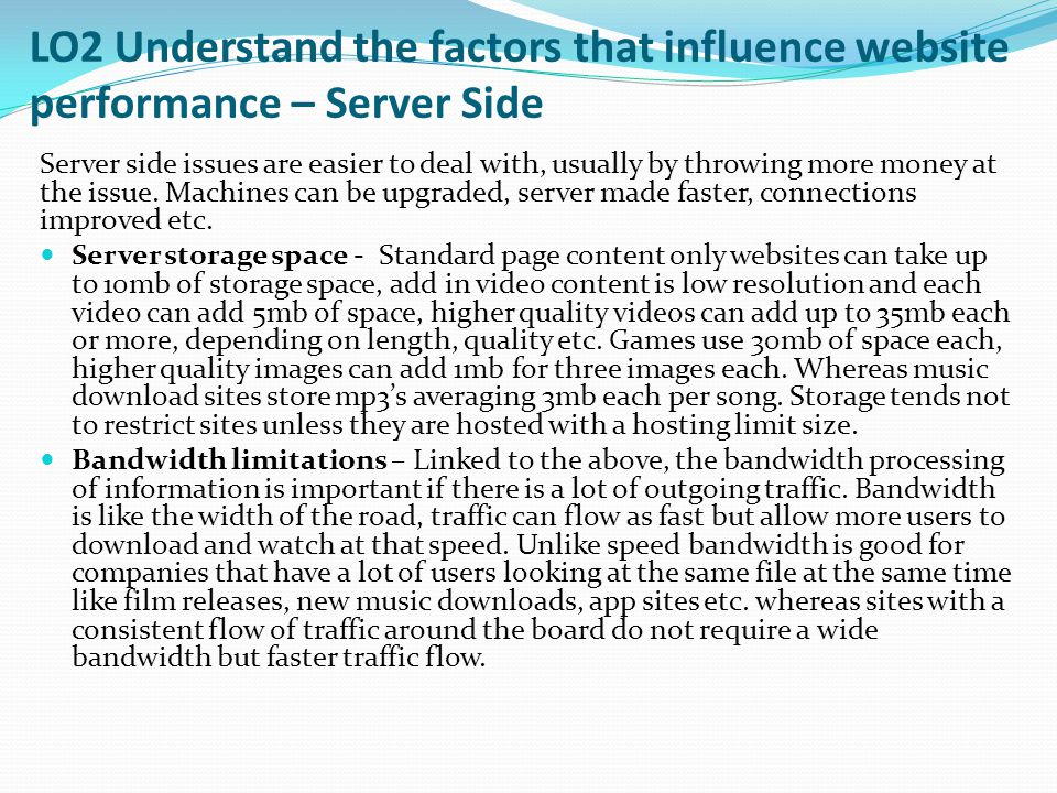 LO2 Understand the factors that influence website performance – Server Side