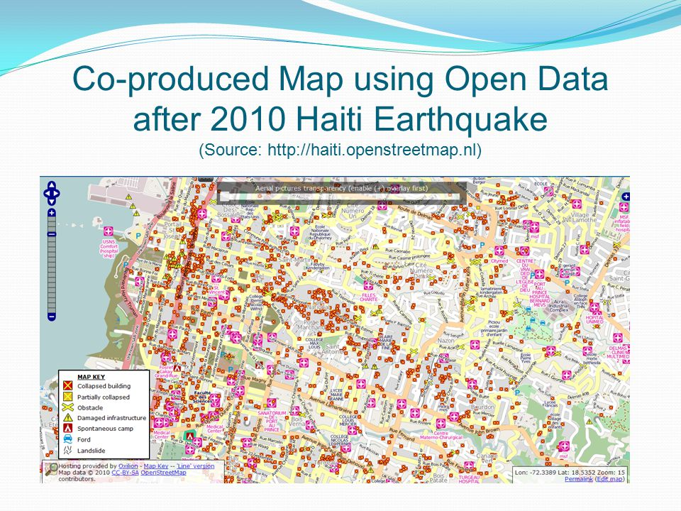 Co-produced Map using Open Data after 2010 Haiti Earthquake (Source: http://haiti.openstreetmap.nl)