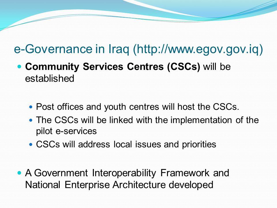 e-Governance in Iraq (http://www.egov.gov.iq)