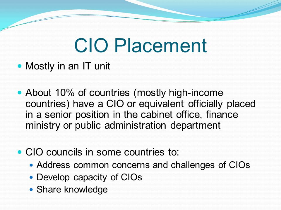 CIO Placement Mostly in an IT unit