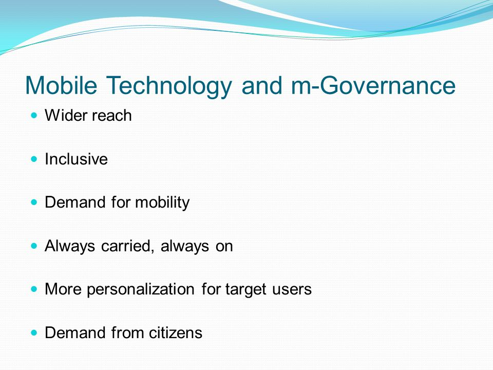 Mobile Technology and m-Governance