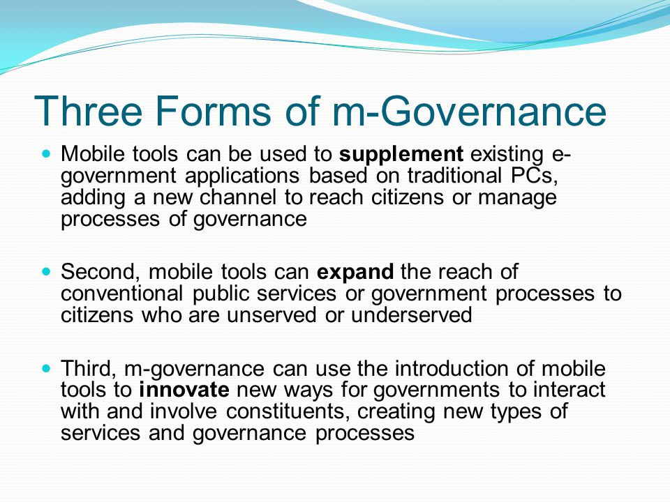Three Forms of m-Governance