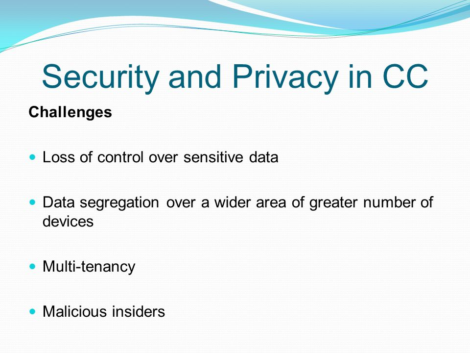 Security and Privacy in CC