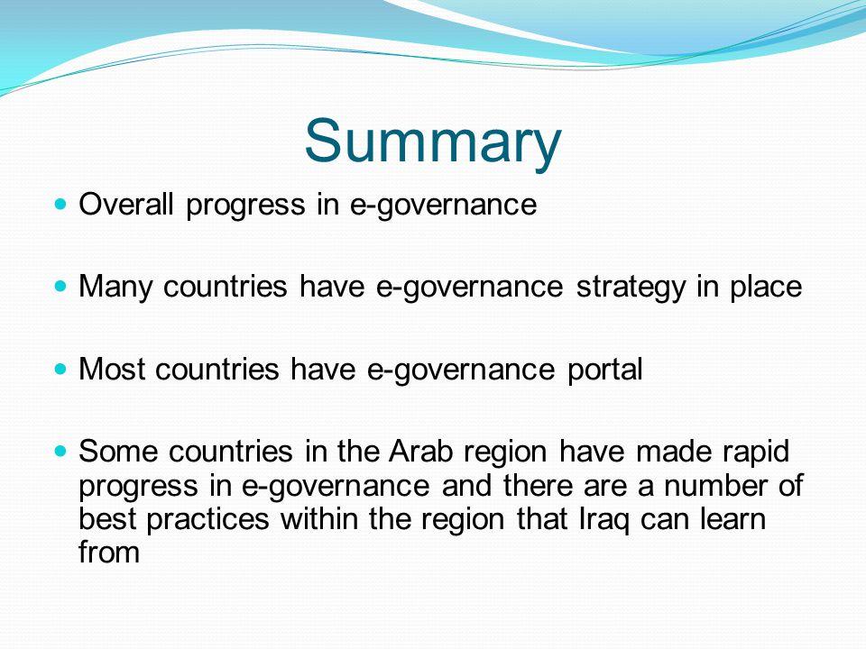 Summary Overall progress in e-governance