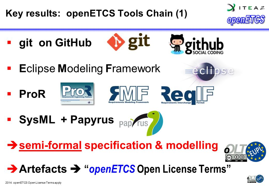 Key results: openETCS Tools Chain (1)