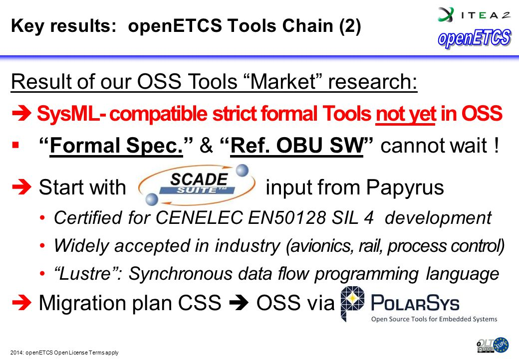 Key results: openETCS Tools Chain (2)