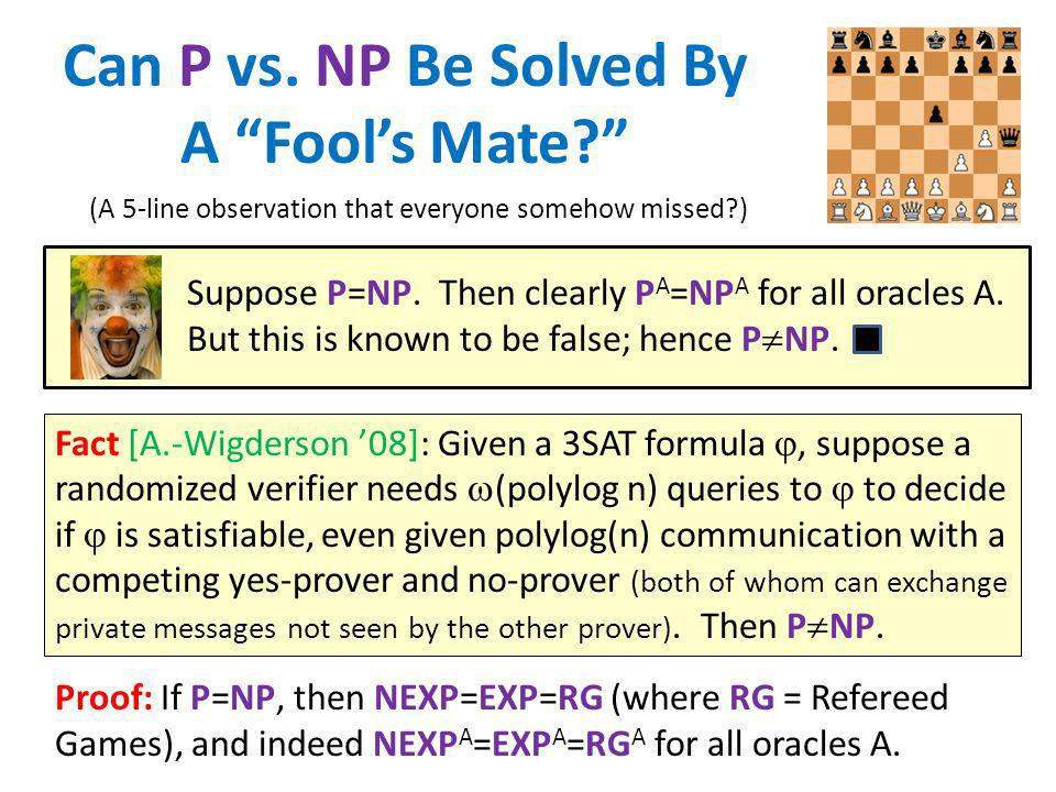 Can P vs. NP Be Solved By A Fool's Mate