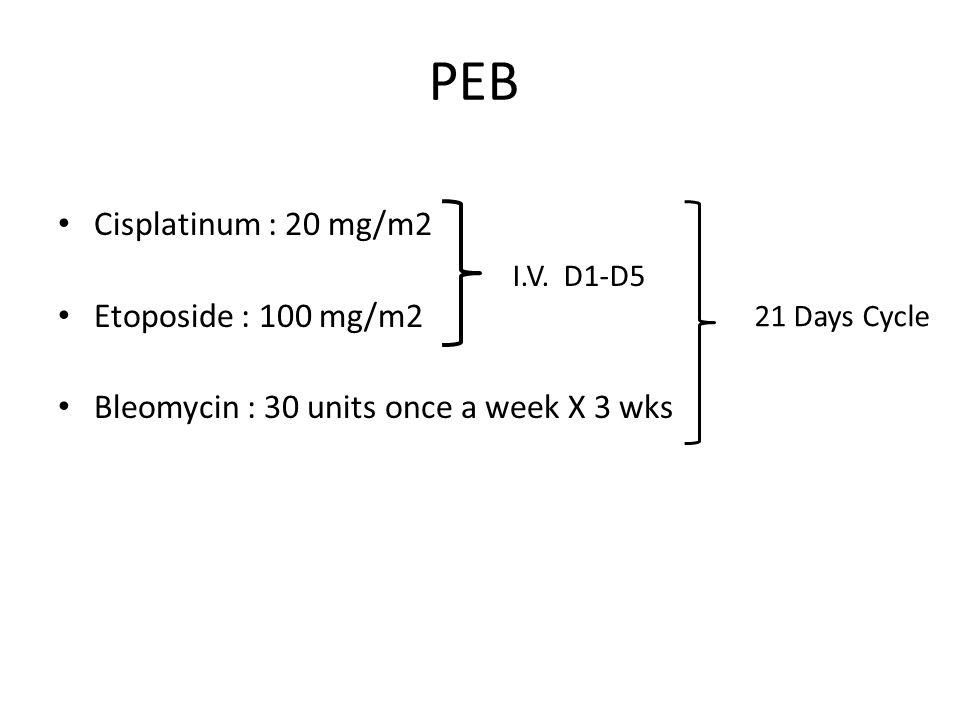 PEB Cisplatinum : 20 mg/m2 Etoposide : 100 mg/m2