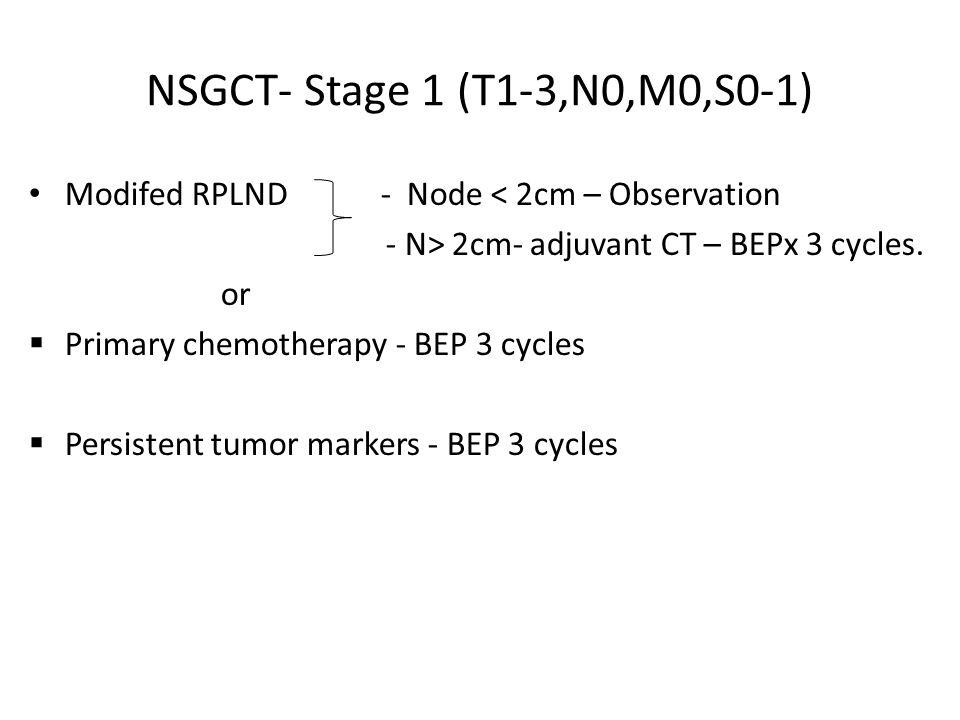 NSGCT- Stage 1 (T1-3,N0,M0,S0-1) Modifed RPLND - Node < 2cm – Observation. - N> 2cm- adjuvant CT – BEPx 3 cycles.