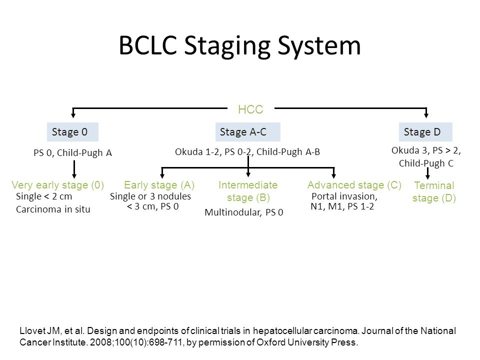 BCLC Staging System HCC Stage 0 Stage A-C Stage D PS 0, Child-Pugh A