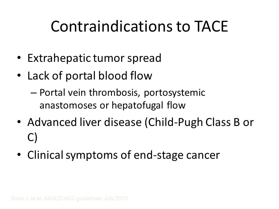 Contraindications to TACE