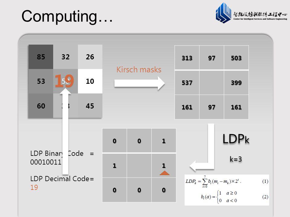 19 Computing… LDPk Kirsch masks 85 32 26 53 50 10 60 38 45 k=3