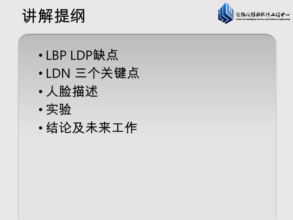 讲解提纲 LBP LDP缺点 LDN 三个关键点 人脸描述 实验 结论及未来工作
