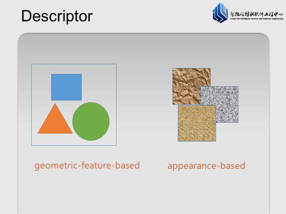 Descriptor geometric-feature-based appearance-based