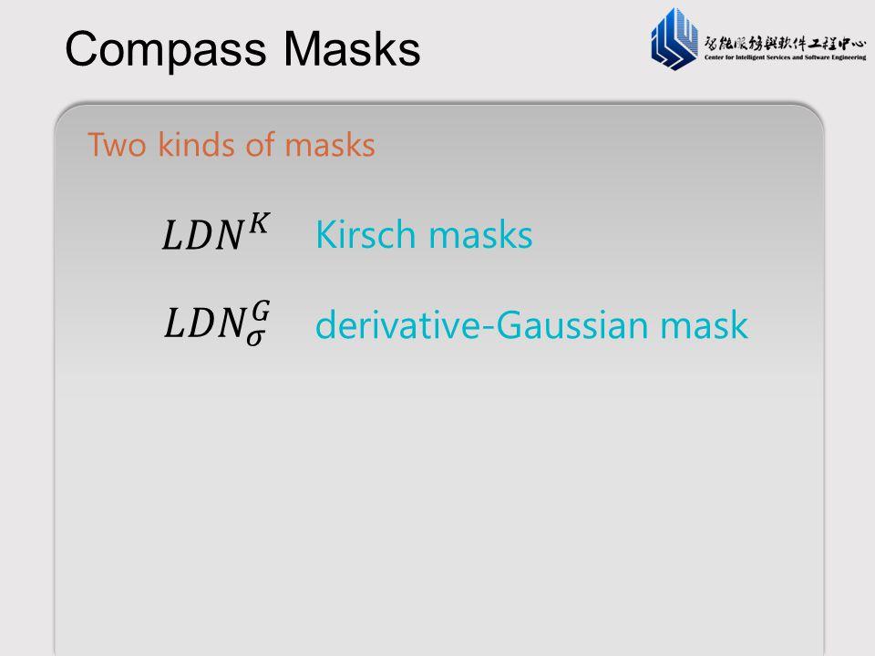 Compass Masks 𝐿𝐷𝑁 𝐾 𝐿𝐷𝑁 𝜎 𝐺 Kirsch masks derivative-Gaussian mask