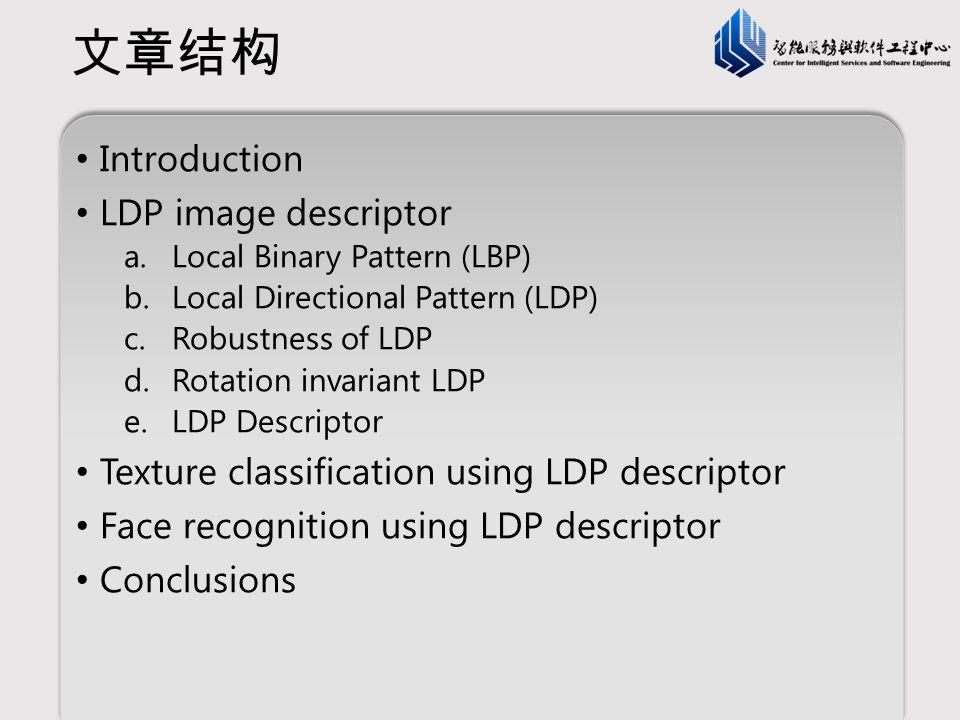 文章结构 Introduction LDP image descriptor