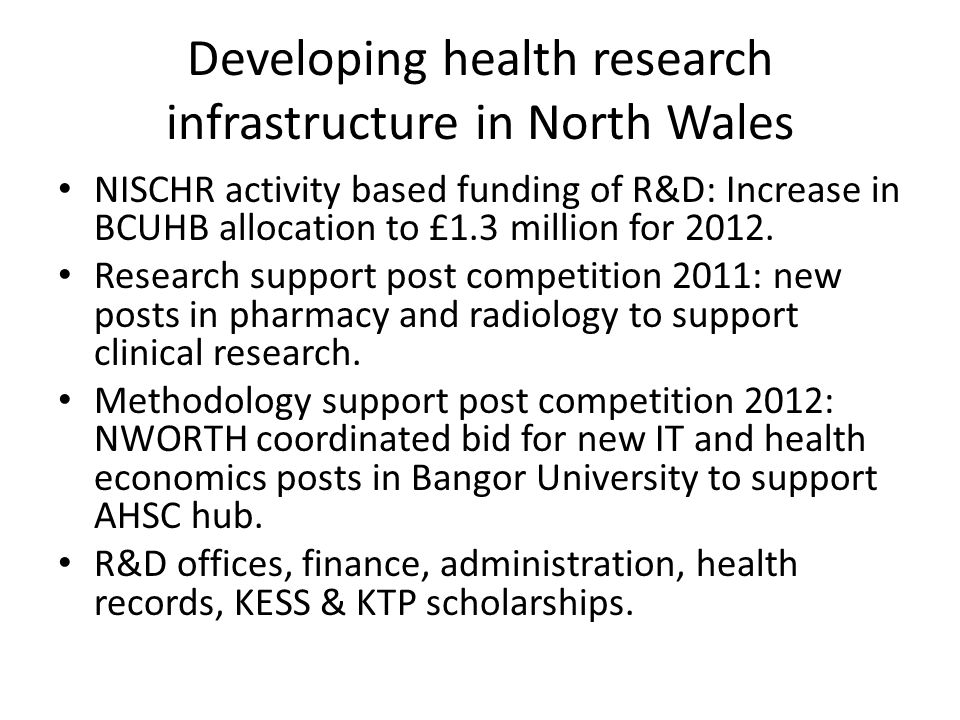 Developing health research infrastructure in North Wales