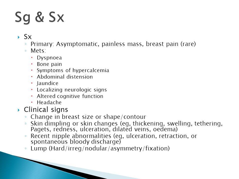 Sg & Sx Sx Clinical signs
