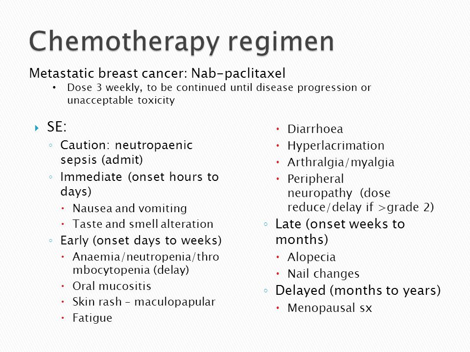 Chemotherapy regimen SE: Metastatic breast cancer: Nab-paclitaxel
